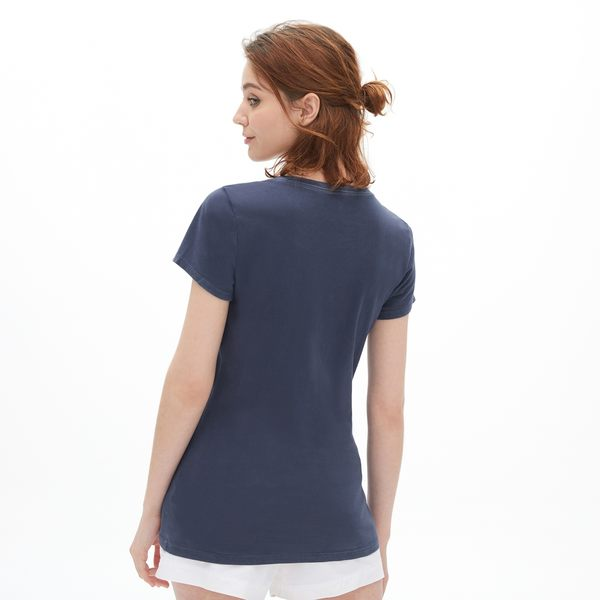 Gap女裝 Logo復古短袖圓領T恤 440941-海軍藍色
