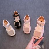 2021夏秋新女童單鞋小皮鞋韓版時尚軟底兒童公主鞋亮皮平底半涼鞋
