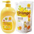 【奇買親子購物網】黃色小鴨 奶瓶洗潔劑組合包(1罐+1包)(香甜橘油)