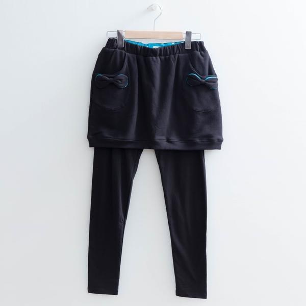 【中大尺碼】配點蝴蝶結裙褲