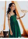 綠色無袖蕾絲吊帶裙中長波西米亞洋裝/設計家分店