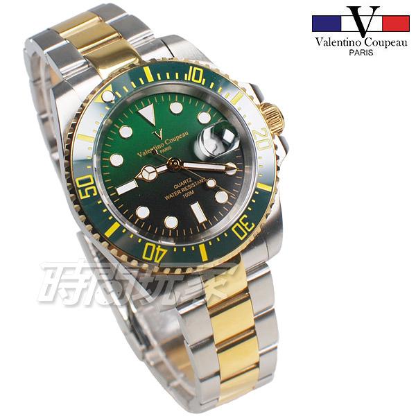 valentino coupeau 范倫鐵諾 夜光 不銹鋼 防水手錶 男錶 潛水錶 綠水鬼 石英錶 V61589TKG金綠