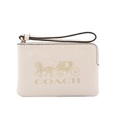 【COACH】荔枝皮革馬車圖案L型拉鍊手拿包(白色) 3580 IMCHK