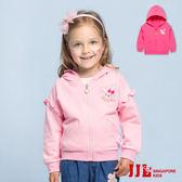 JJLKIDS 女童 可愛兔子刺繡荷葉邊休閒連帽外套(2色)
