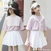 女童夏裝運動套裝2020新款洋氣中大童t恤女孩裙子兒童短袖兩件套