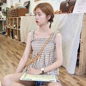 夏裝新款韓版修身短款上衣小清新壓褶格子吊帶背心女外穿學生 草莓妞妞