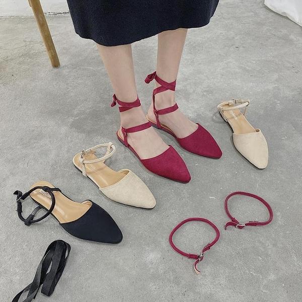 夏新款韓版百搭尖頭涼鞋平底兩穿網紅絨面包頭仙女風晚晚鞋女