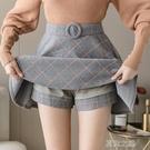 百褶裙女 毛呢格子半身裙女百褶裙新款高腰顯瘦a字短裙加厚裙子 快速出貨