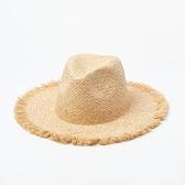 草帽-磨毛邊大簷手編雙層女爵士帽2款73zr80[巴黎精品]