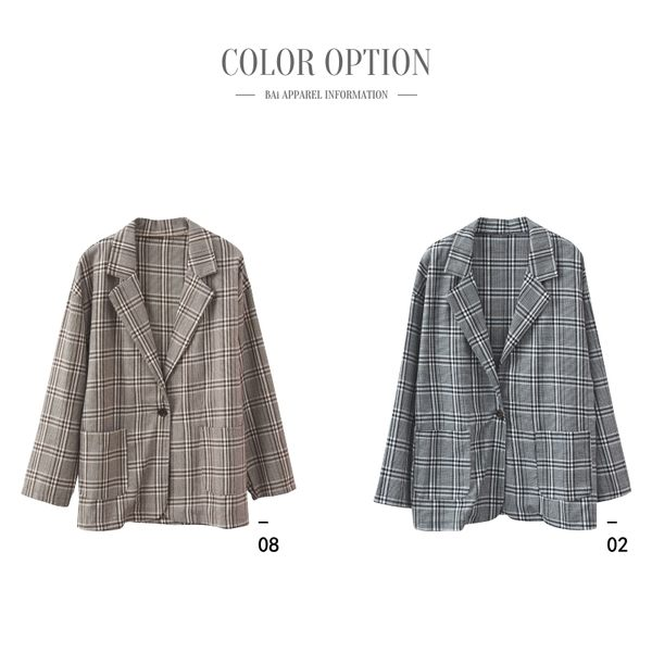 西裝外套 格紋配色雙口袋單釦翻領外套-BAi白媽媽【195741】