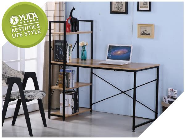 【YUDA】艾美 4尺 本色 黑腳 書架型 書桌 J8F 386-3