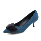 中跟鞋女 尖頭中跟鞋 單鞋新款絨面尖頭皮帶扣女鞋細跟通勤高跟鞋女韓版女鞋子《小師妹》sm3434
