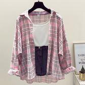 (全館一件免運費)DE SHOP~(XA-1279)寬鬆淺色格子襯衫外套女百搭薄上衣學院長袖襯衫