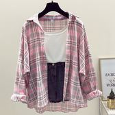 DE SHOP~(XA-1279)寬鬆淺色格子襯衫外套女百搭薄上衣學院長袖襯衫