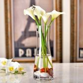 花瓶歐式簡約玻璃創意透明人造水晶插花玻璃餐桌客廳裝飾花幹花器