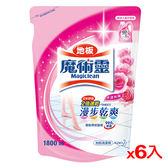 魔術靈地板清潔水漾玫瑰補充包1800ml*6(箱)【愛買】
