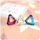 耳環 鏤空三角水晶  透明耳針/耳夾 (...
