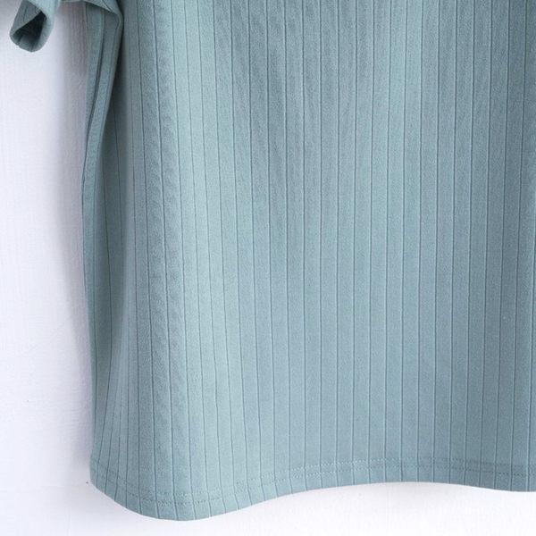 春裝販促[H2O]棉感羅紋布剪接蕾絲大翻領針織上衣 - 綠/藍/白色 #9691002