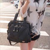 真皮包包(立體大方包 )-R&BB手工牛皮製*個性鉚釘雙拉鍊大容量手提&肩背包-深藍/黑色