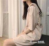女學生韓版文藝連身裙學院寬鬆白色清新 【米蘭街頭】