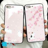 【SZ35】卡通櫻花貓咪玻璃殼 iphone xs max 保護殼 iphone xs max xr殼 iphone xs手機殼玻璃殼