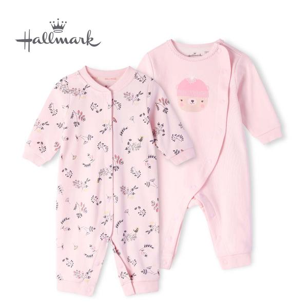 Hallmark Babies 帽子小熊女嬰純棉長袖連身衣兩件裝 HH3-F02-02-BG-MR