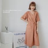 優雅V領不對稱綁帶棉麻洋裝 二色-小C館日系