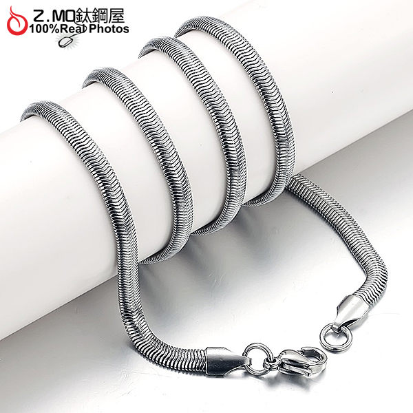 [Z-MO鈦鋼屋]316L鈦鋼/扁蛇單鏈子/男女生單鏈子款式/不生鏽,過敏單件價【DKS326】
