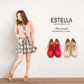ESTELLA-MIT真牛油皮綁帶高跟牛津踝靴