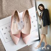 工作鞋白色高跟鞋細跟尖頭鞋子女2018新款單鞋女百搭工作鞋裸色婚鞋皮鞋 LH3622【3C環球數位館】