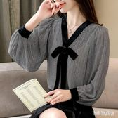 雪紡衫女秋裝新款洋氣時尚氣質寬鬆顯瘦清新小衫v領上衣 QG14151『Bad boy時尚』