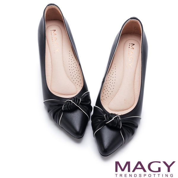 MAGY 氣質首選 配色滾邊牛皮扭結中跟鞋-黑色