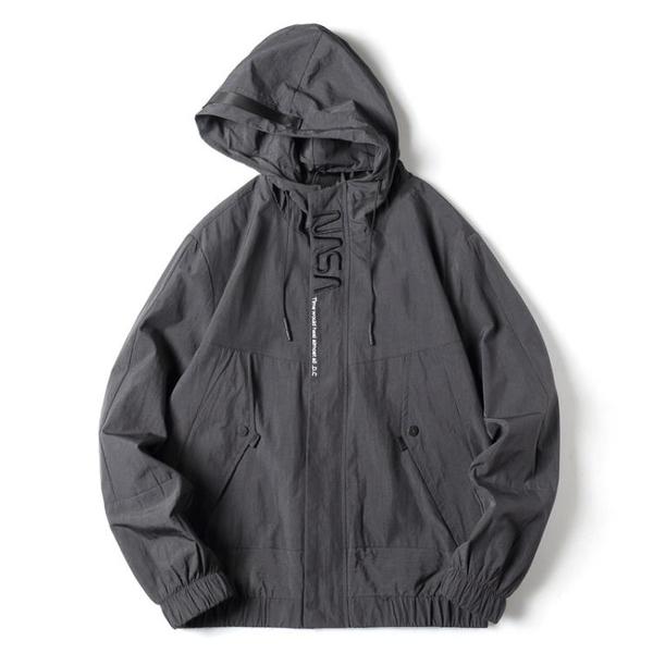 男士外套百搭 潮流外套寬松潮牌上衣 男外套韓版外套 秋季日系運動夾克外套 連帽開衫男生外套