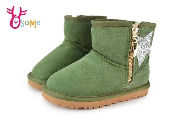 男女童冬季雪靴 刷毛 真皮 中童鞋 牛皮 閃亮星星 暖冬韓流必備 M8078◆#綠 OSOME奧森鞋業