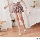 《CA2321-》印花裙襬荷葉剪接褲型內裡A字裙 OB嚴選