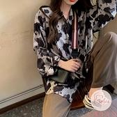 豹紋扎染長袖襯衫女韓版復古港味設計感慵懶風上衣【大碼百分百】