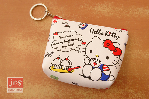 Hello Kitty 凱蒂貓 皮革鎖圈零錢包 下午茶 白
