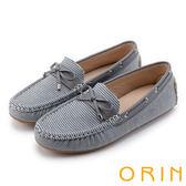 ORIN 樂活度假 個性條紋平底帆船鞋-灰色