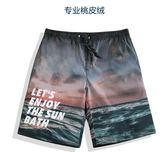 泳褲沙灘褲男士速乾海邊度假寬鬆五分平角花短褲泳褲潮流夏季大褲衩 曼莎時尚