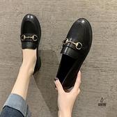 一腳蹬粗跟皮鞋女春季韓版百搭素色單鞋【愛物及屋】