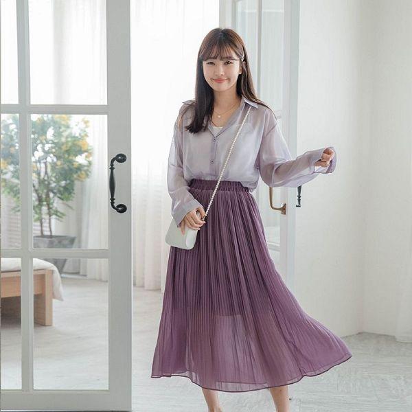MIUSTAR 鬆緊細百褶雪紡長裙(共5色)【NJ1685】預購