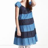 【ohoh-mini孕婦裝】俏麗牛仔棉布拼接孕婦洋裝