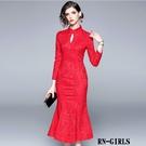 (現貨+預購 RN-girls)-精品蕾絲魚尾裙長袖洋裝小禮服