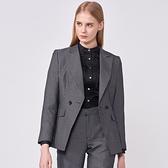SST&C 女裝 灰格紋劍領雙排釦西裝 | 7162009004
