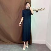 短袖洋裝-皺褶高彈力立領純色修身女連身裙4色73yf21【時尚巴黎】