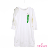 【SHOWCASE】單邊網紗七分袖長版棉T洋裝(黑/白)
