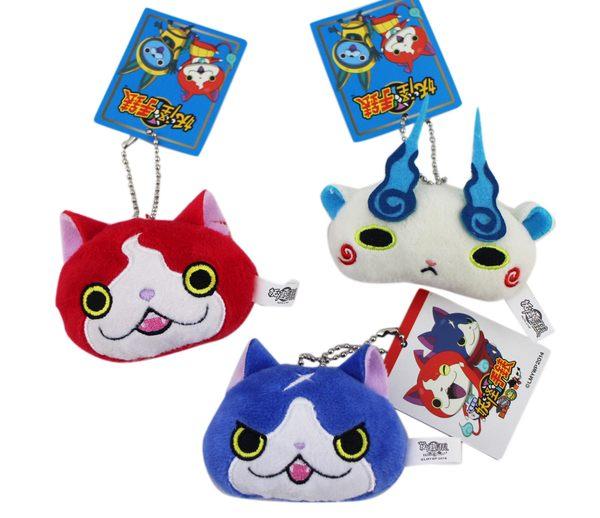 【卡漫城】 妖怪手錶 頭形 吊飾 三入組 ㊣版 yokai 小石獅 浮游貓 吉胖喵 玩偶 絨毛 裝飾 貓 鑰匙圈