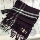 BRAND楓月 BURBERRY 博柏利 經典 100%喀什米爾羊毛 紫色 格紋 圍巾 保暖配件