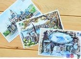 明信片 手繪 明信片 旅游 風景明信片 紀念 賀卡10張