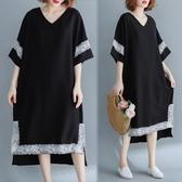 洋裝 連身裙 大碼女裝很仙的顯瘦洋氣洋裝中長款氣質胖妹妹夏裝寬鬆蕾絲拼接